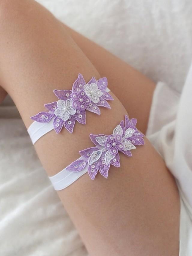 wedding photo - free ship lilac floral garter set, bridal garter, floral garter, garter, lace garter, toss garter, wedding garter