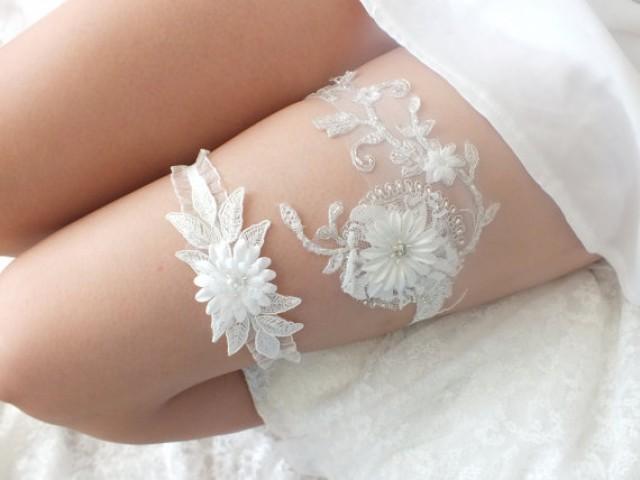 wedding photo - free ship ivory lace garter set, bridal garter, floral garter, garter, lace garter, toss garter, wedding garter