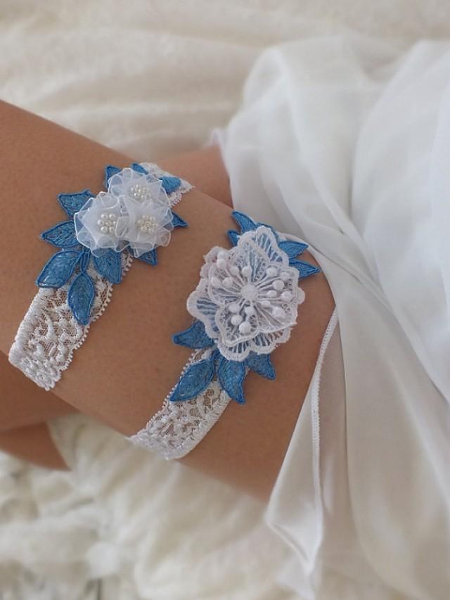 wedding photo - free ship blue whitee lace garter set, bridal garter, floral garter, garter, white lace garter, toss garter, wedding garter