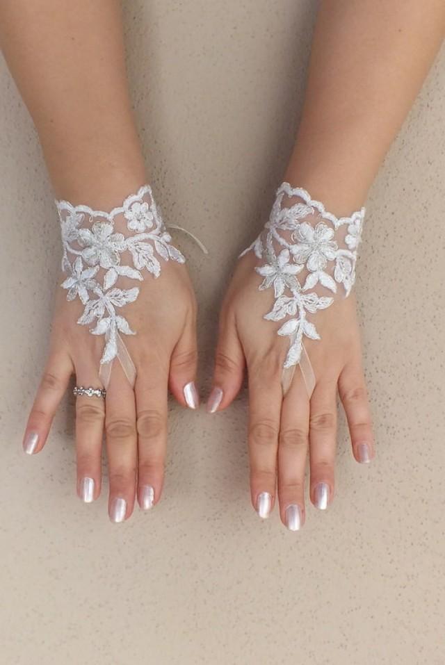 wedding photo - Free ship, white silver frame Wedding gloves french lace gloves bridal gloves lace gloves fingerless gloves ivory gloves free ship