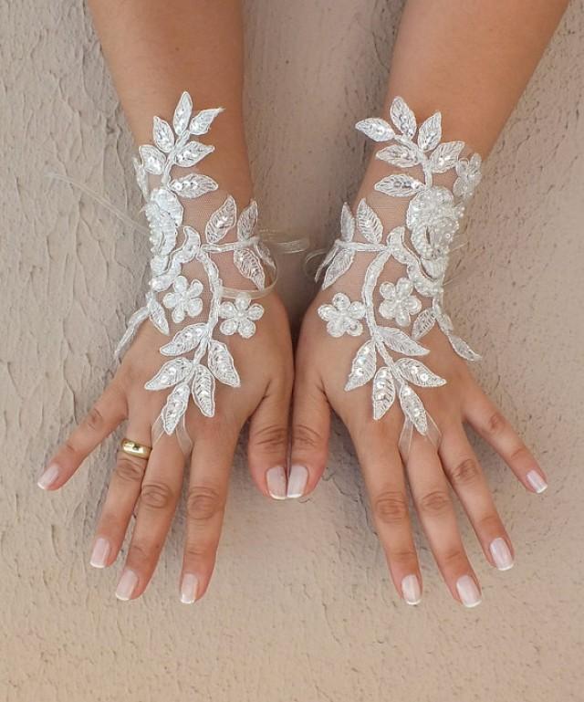 wedding photo - Free ship, Ivory silver frame lace Wedding gloves, bridal gloves, fingerless lace gloves,