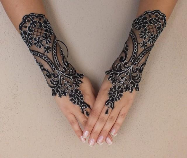 wedding photo - black wedding glove, silver frame, Bridal Glove, black lace cuffs, lace gloves, Fingerless Gloves, bridal gloves Free Ship