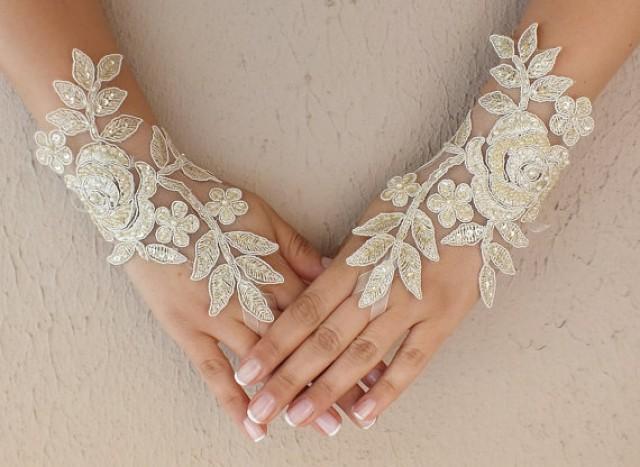 wedding photo - Free ship, champagne gold, ivory, white, black Wedding gloves bridal fingerless french lace gauntlets fingerloop, lace glove