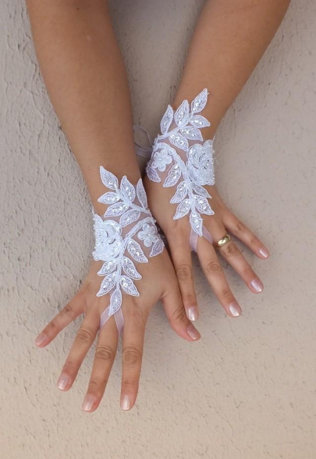 wedding photo - Free ship, white Ivory black Wedding gloves french lace gloves bridal gloves lace gloves fingerless gloves ivory gloves free ship