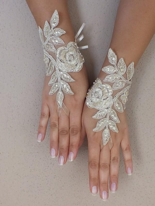 wedding photo - Free ship,champagne gold Wedding gloves bridal fingerless french lace gauntlets fingerloop, lace glove