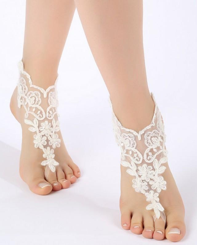 wedding photo - Free Ship ivory lace Barefoot Sandals, french lace, Nude shoes, Gothic, anklet Foot jewelry,Wedding, Victorian Lace, Sexy, barefoot sandals