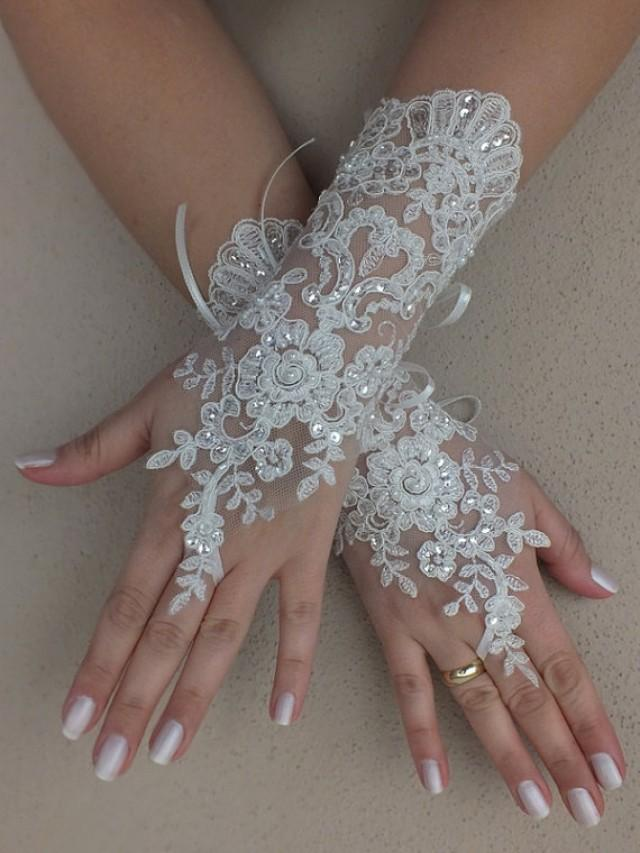 wedding photo - Free ship, Ivory lace Wedding gloves, silver beads embroidered bridal gloves, fingerless lace gloves,handmade