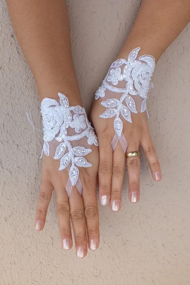 wedding photo - Free ship, white black Wedding gloves french lace gloves bridal gloves lace gloves fingerless gloves ivory gloves free ship