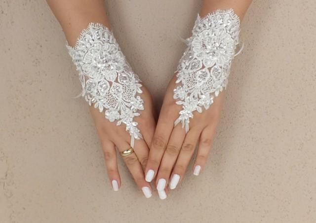 wedding photo - Free ship, Ivory lace Wedding gloves, bridal gloves, fingerless lace gloves, lace gloves, fingerless gloves