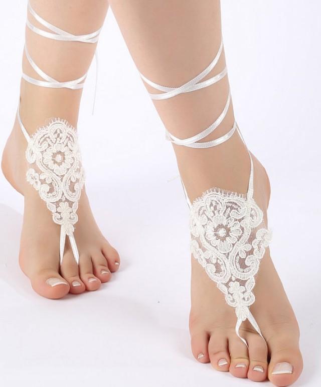 wedding photo - Free Ship ivory black or blush , lariat sandals, laceBarefoot Sandals, french lace, Beach wedding barefoot sandals