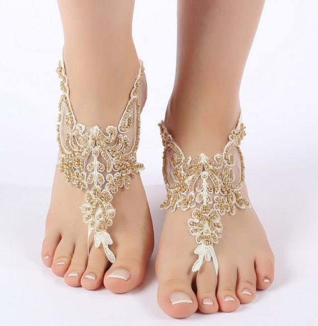 wedding photo - Free Ship ivory gold beaded barefoot sandals, laceBarefoot Sandals, french lace, Beach wedding barefoot sandals
