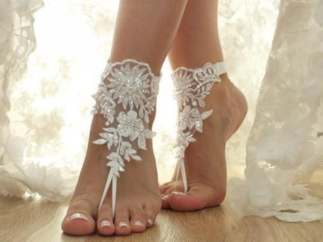 wedding photo - Free Ship white, flexible ankle sandals, laceBarefoot Sandals, french lace, Beach wedding barefoot sandals