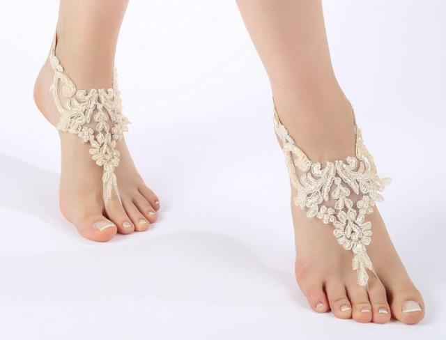 wedding photo - Free ship champagne Barefoot Sandals, french lace, shoes, Gothic, Wedding, beach wedding barefoot sandals