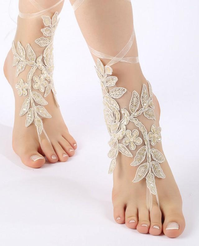 wedding photo - Free ship free ship Champagne Unique Lace sandals Beach wedding barefoot sandals, belly dance shoes gold color sandals, barefoot sandals,