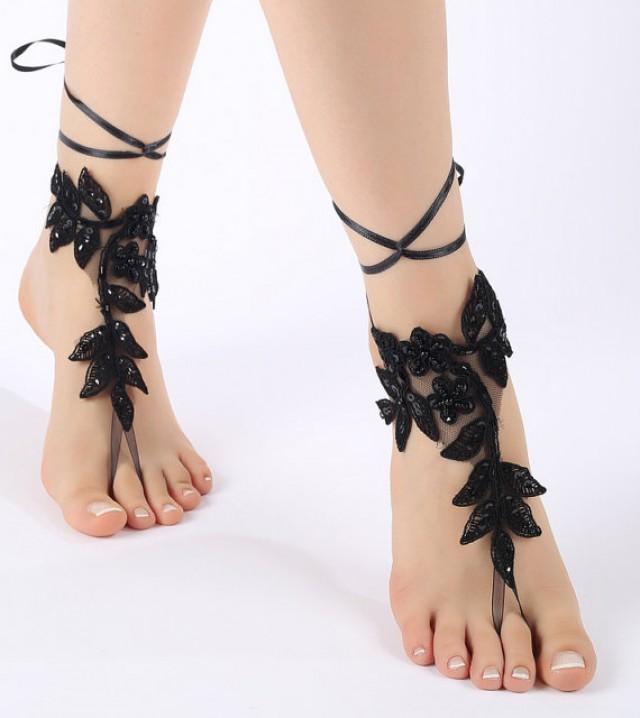 wedding photo - Free ship Black or ivory Barefoot Sandals, french lace, shoes, Gothic, Wedding, Victorian Lace, Sexy, barefoot sandals