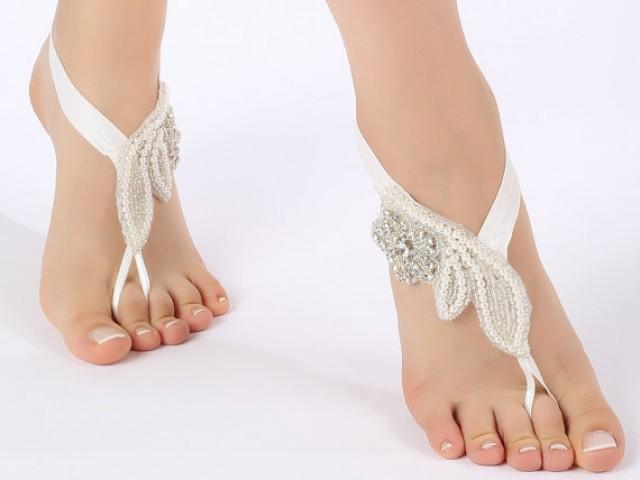 wedding photo - Free Ship Rhinestone pearl flexible barefoot sandals, Barefoot Sandals, Beach wedding barefoot sandals