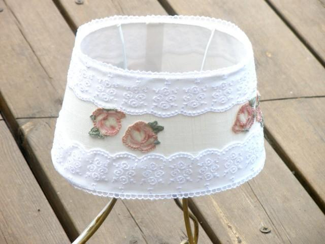 Shabby Chic Lampshade Table Decor Living Room Light Holiday Gift Idea Fabric Cottage