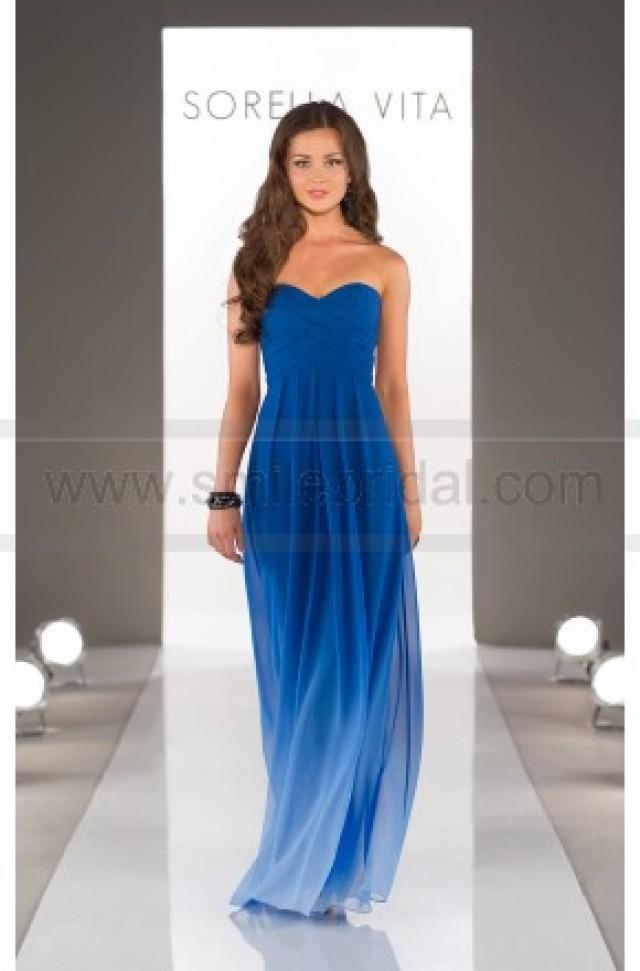 wedding photo - Sorella Vita Blue Ombre Bridesmaid Dress Style 8405OM