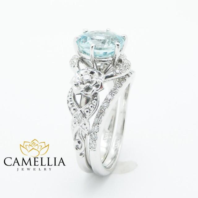 Unique Aquamarine Engagement Ring Set 14K White Gold 2 Carat Aquamarine Rings Art Deco