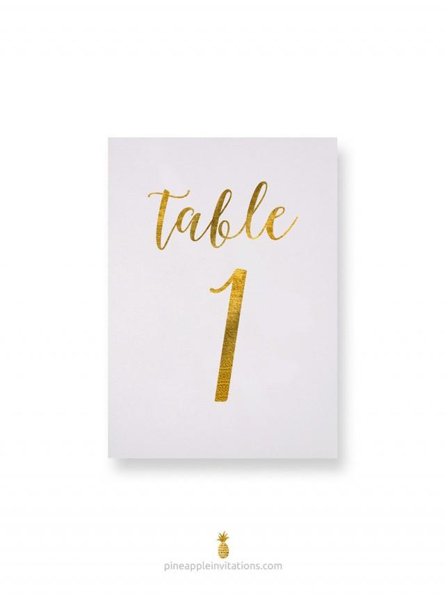 Octavia gold foil table numbers gold table number cards for Table numbers