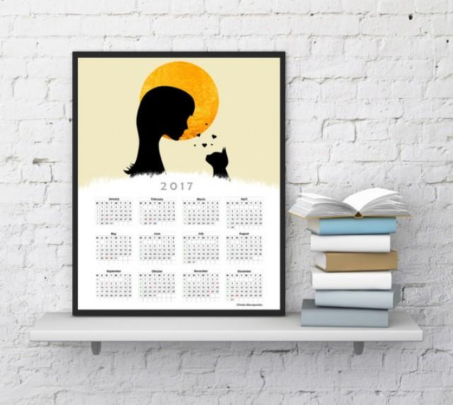 Wall calendar 2017 cat calendar 2017 calendar christmas 2017 gift ideas for her