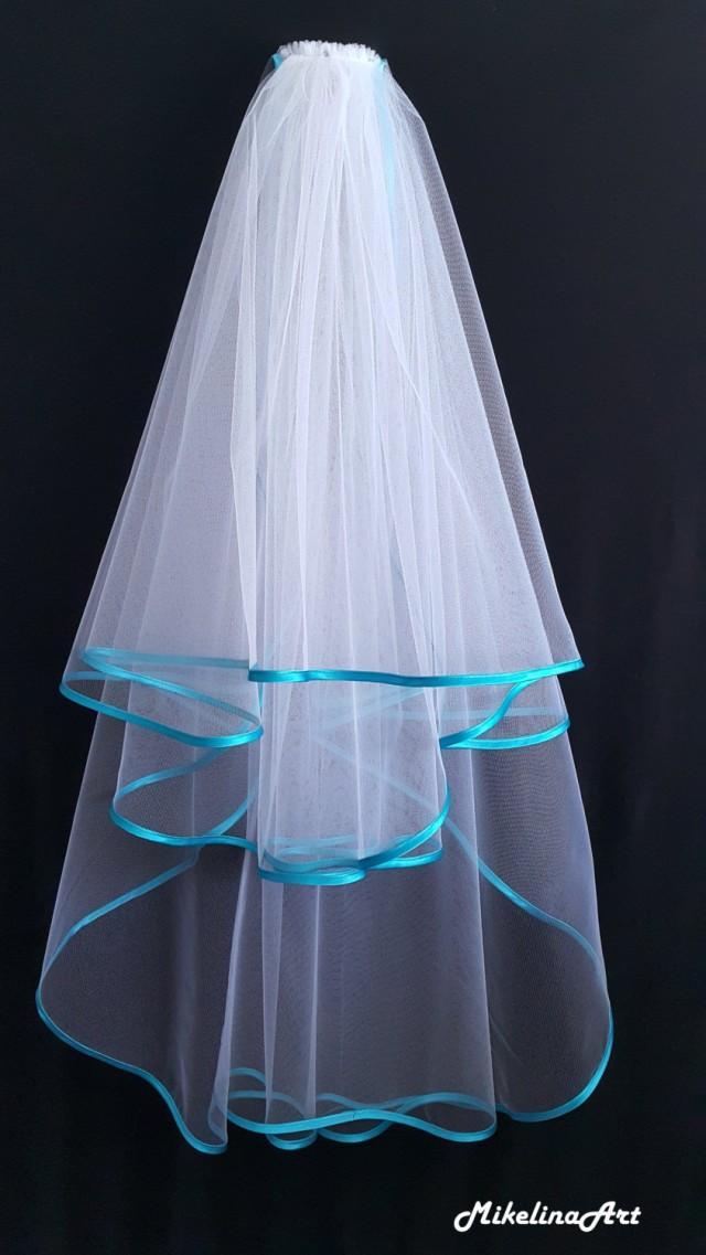 White Wedding Veil Three Layers Turquoise Satin Edging