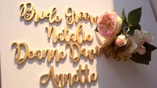 wedding photo - Gold wood Place names. Wedding place names. Place cards. Wood cut names.