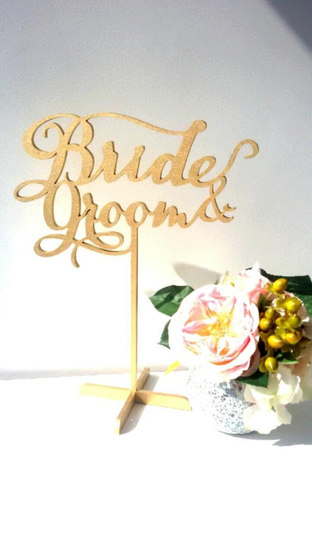 wedding photo - Bride and Groom freestanding sign. Table Sign for Weddings, Sign for Bridal Shower.
