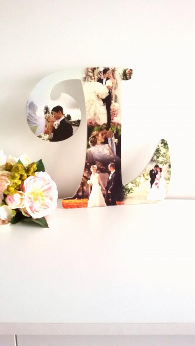 wedding photo - Photo Collage Letter 5 photos, Family Gift, Wooden Letter, Mother gift.