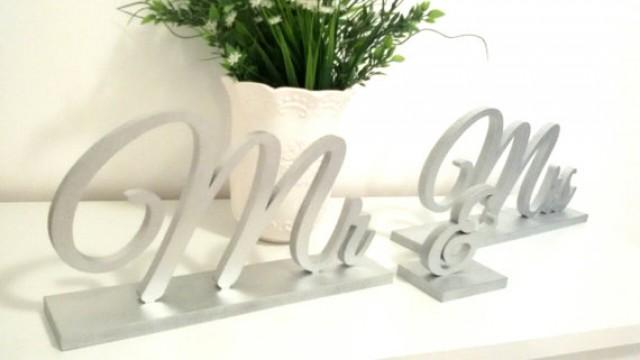 wedding photo - Mr & Mrs silver sign. Wedding table decor.FREESTANDING SET
