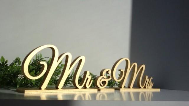 wedding photo - Mr & Mrs gold sign. Wedding table decor.FREESTANDING SET