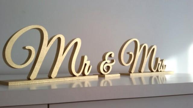 wedding photo - Mr & Mrs gold sign. Wedding table decor.