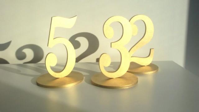 wedding photo - 1-5 Freestanding table numbers. Wedding table numbers. Gold numbers.