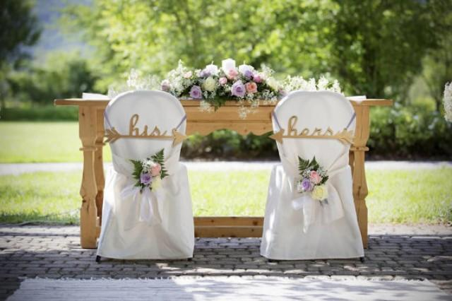 wedding photo - Set of Wedding chair arrows. Gold arrows - His and Hers.