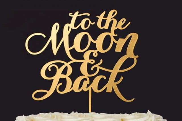 wedding photo - To the Moon and back Wedding Cake Toppers