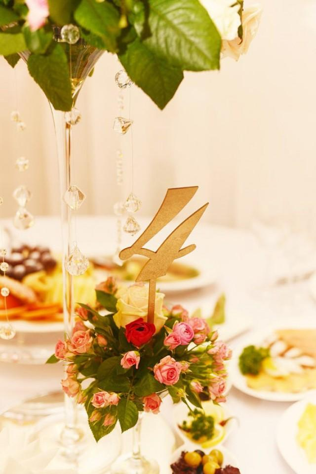 wedding photo - Gold table numbers. Wedding table numbers.