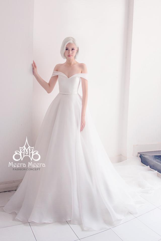 Simple elegant off the shoulder organza wedding dress from for Wedding dress off the shoulder