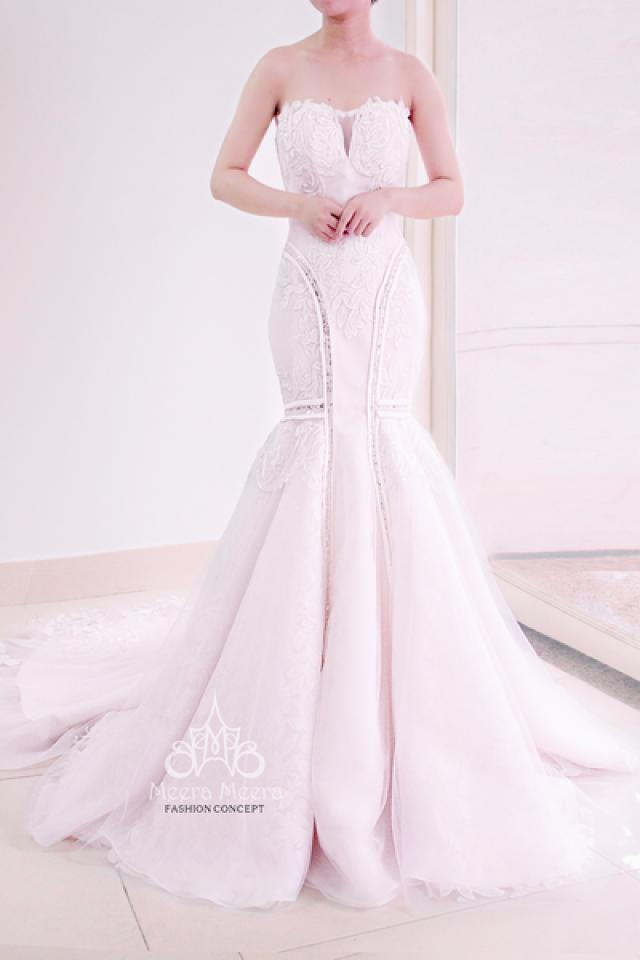 Strapless Lace And Blush Organza Trumpet Wedding Dress