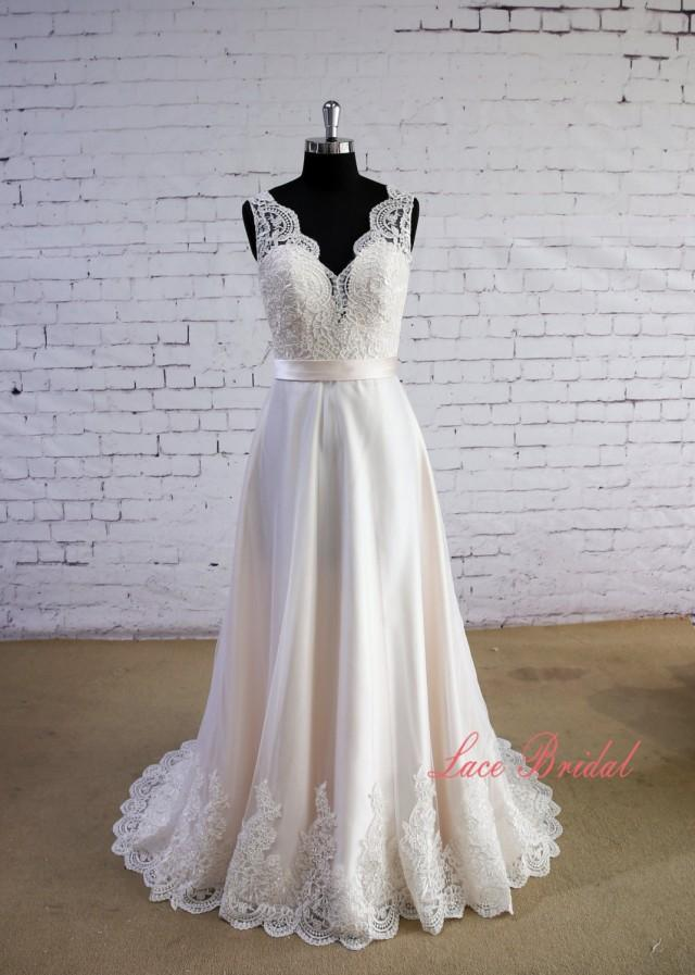 Special wheat color wedding dress v neck wedding dress v for V back wedding dress