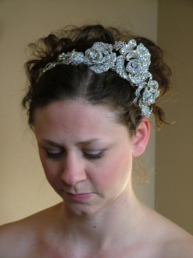 wedding photo - Rhinestone Crystal Auroura Borealis Silver Headpeice Tiara converts to Necklace BLING