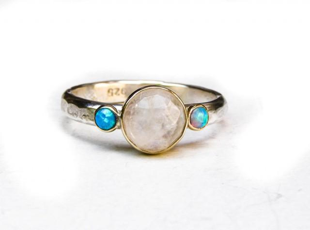 Engagement Ring Opal Ring Wedding Ring Anniversarry Ring Moonstone Ring
