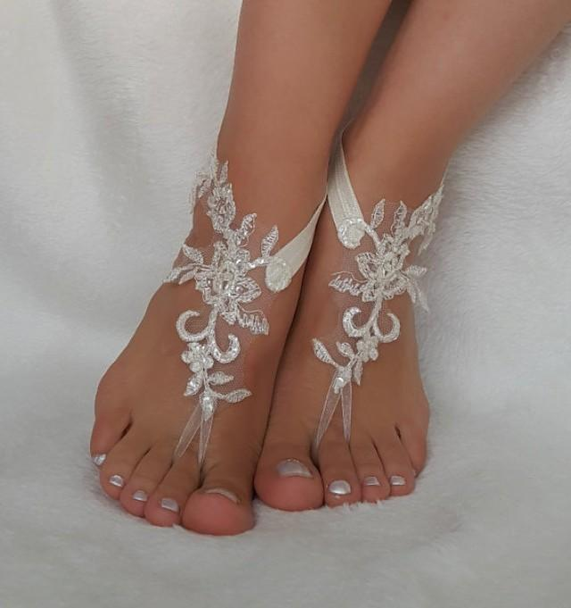 wedding photo - cream lace beach wedding barefoot sandals handmade anklets bangles bridesmaid gifts embroidered shoes accessories free ship country wedding