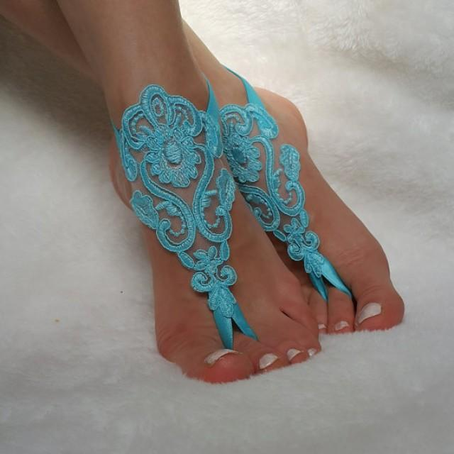 wedding photo - turquoise lace barefoot sandals beach wedding country wedding bridesmaid accessory bangles anklets bridal gift nude shoes