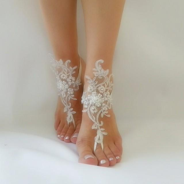 wedding photo - ivory Barefoot silver frame french lace sandals wedding anklet Beach wedding barefoot embroidered shoes handmade bridesmaid accessories