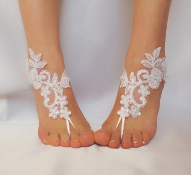 wedding photo - White , ivory lace barefoot sandals wedding barefoot , Flexible wrist lace sandals Beach wedding barefoot sandals , White barefoot sandals