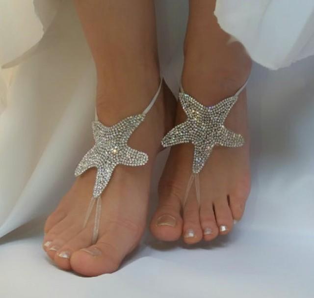 wedding photo - bright stone rhinestone anklet country wedding starfish sea Star beach wedding barefoot sandal steampunk free ship bellydance beach pool