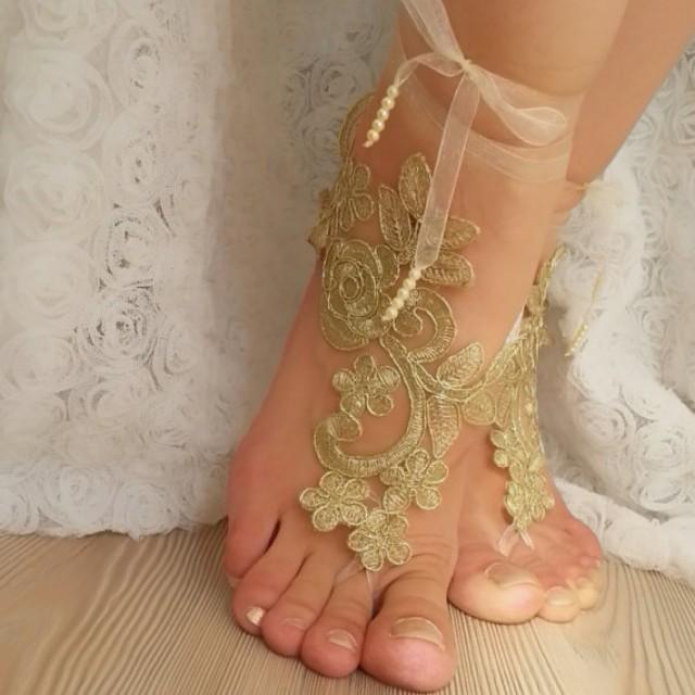 wedding photo - Free Ship --- bridal anklet, gold embrodeired, Beach wedding barefoot sandals, bangle, wedding anklet, anklet, bridal, wedding, sexy boho