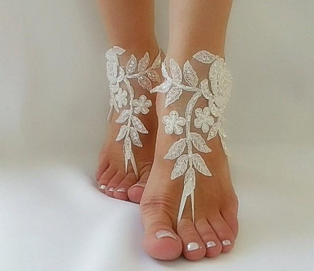 wedding photo - ivory Barefoot silver frame , french lace sandals, wedding anklet, Beach wedding barefoot sandals, embroidered sandals.