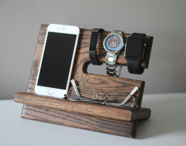 Night Stand Oak Wood Valet IPhone Galaxy Charging