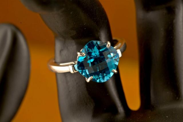 wedding photo - Swiss Blue Topaz Unique Engagement Ring, Birthstone Ring, Fleur de Lis Ring, Checker-board Cut, December Birthstone